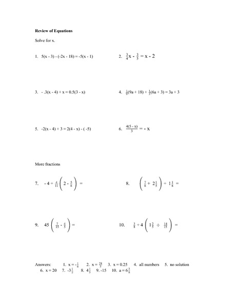 Review of Equations Worksheet