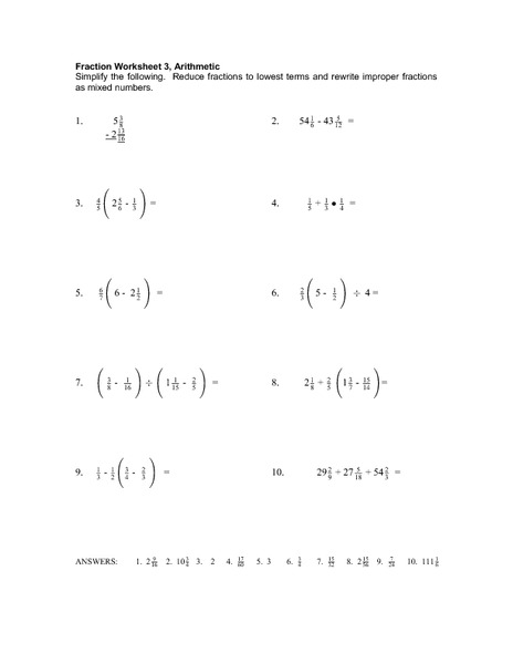 Fractions Part Three Worksheet