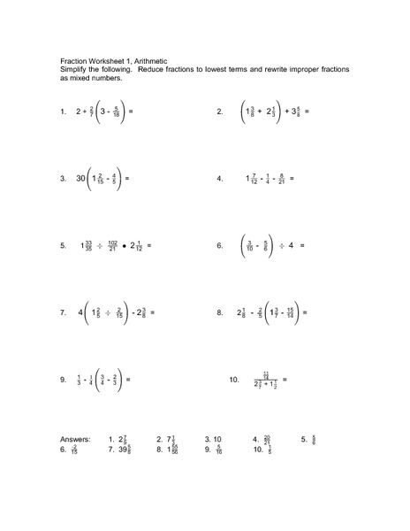 Fractions Part One Worksheet
