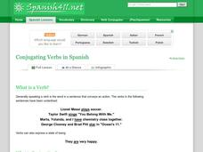 Conjugating Verbs in Spanish Handouts & Reference