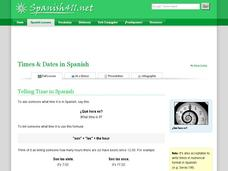 Times & Dates in Spanish Handouts & Reference