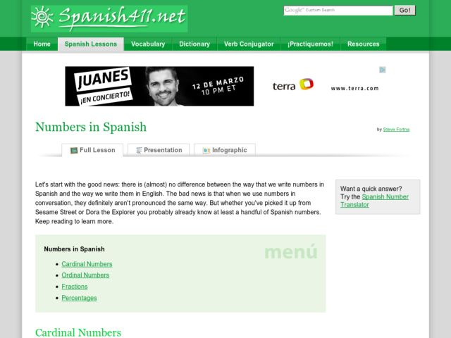 Numbers in Spanish Handouts & Reference