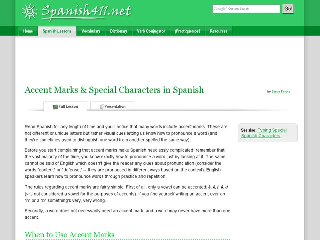 Accent Marks & Special Characters in Spanish Presentation