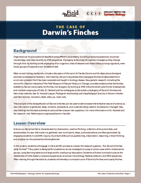 The Case of Darwin's Finches Lesson Plan