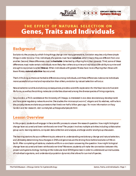 The Effect of Natural Selection on Genes, Traits and Individuals Activities & Project