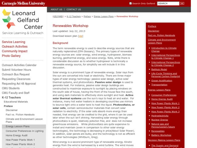 Renewables Workshop Lesson Plan