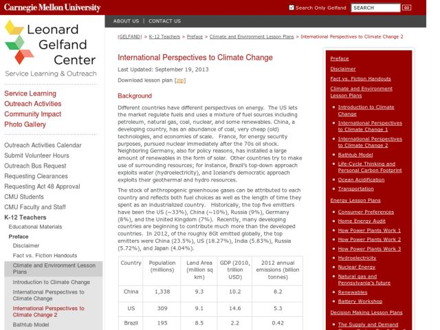 International Perspectives to Climate Change 2 Lesson Plan