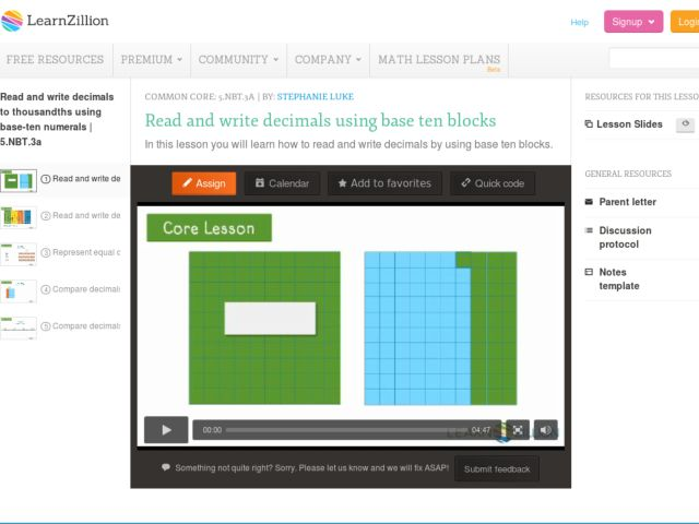 Read and Write Decimals Using Base Ten Blocks Video