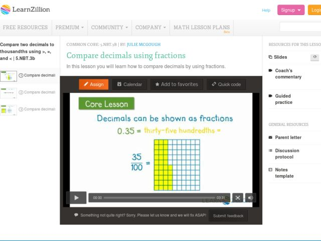 Compare Decimals Using Fractions Video