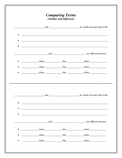 Comparing Terms (Similar and Different) Printables & Template