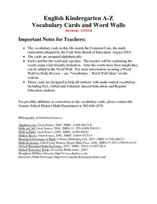 Vocabulary Words Kindergarten Printables & Template