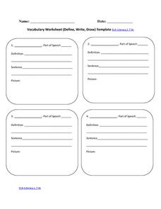 Vocabulary Worksheet (Define, Write, Draw) Template ELA-Literacy.L.7.4c Printables & Template