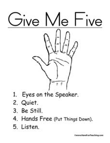 Give Me Five Poster Printables & Template for Kindergarten