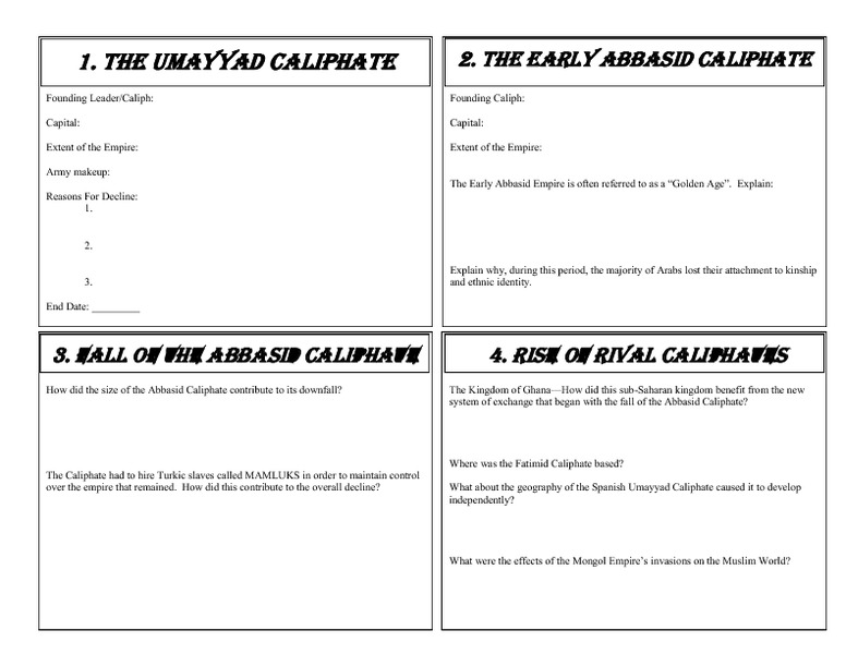 caliphates graphic organizer printables  u0026 template for 7th