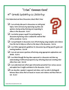 """I Can"" 6th Grade Common Core Checklists"