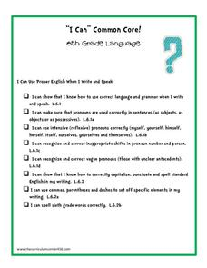 """I Can"" Common Core! 6th Grade Language Printables & Template"