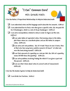 """I Can"" Common Core! 6th Grade Math Printables & Template"