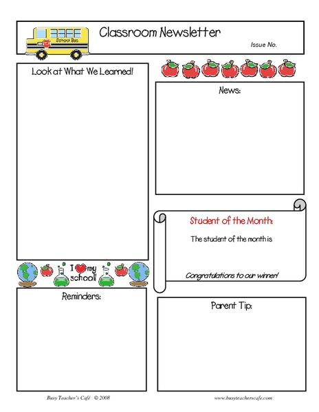 Classroom Newsletter Printables & Template