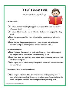 """I Can"" Common Core! 6th Grade Reading Printables & Template"