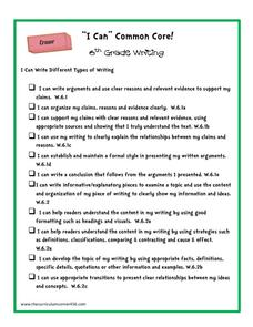 """I Can"" Common Core! 6th Grade Writing Printables & Template"