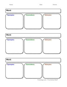 Vocabulary Organizer Printables & Template