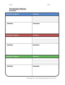 Vocabulary Boxes Printables & Template