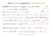 Some Fascinating Properties of π Printables & Template