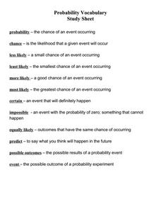 Probability Vocabulary Study Sheet Handouts & Reference