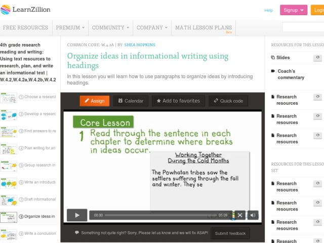 Organize Ideas in Informational Writing Using Headings Video
