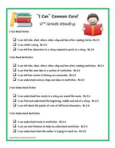 """I Can"" Common Core! 2nd Grade Reading Printables & Template"