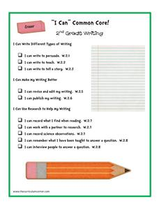 """I Can"" Common Core! 2nd Grade Writing Printables & Template"