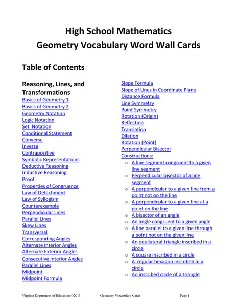 High School Mathematics Geometry Vocabulary Word Wall Cards Printables & Template