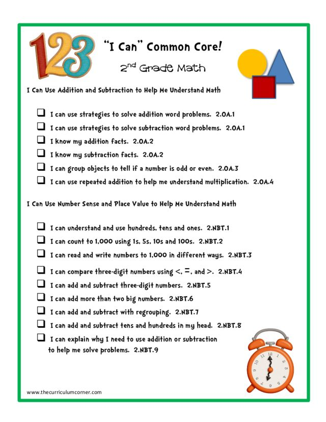 """I Can"" Common Core! 2nd Grade Math Printables & Template"