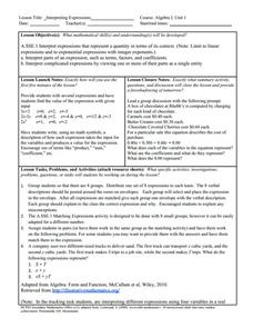 Interpreting Expressions Lesson Plan