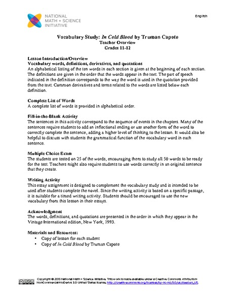 vocabulary study in cold blood by truman capote th th grade  vocabulary study in cold blood by truman capote 11th 12th grade lesson plan lesson planet