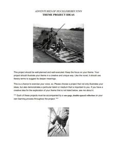 Huckleberry Finn Theme Project Ideas Activities & Project