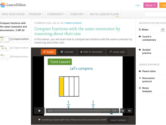 Compare Fractions with the Same Numerator by Reasoning about Their Size Video