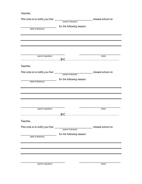Absentee Note Printables & Template