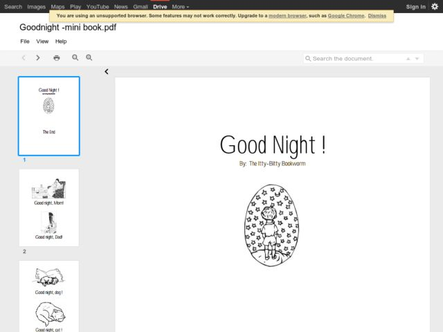 Goodnight Mini-Book Printables & Template