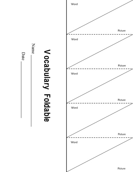 vocabulary foldable printables  u0026 template for 2nd