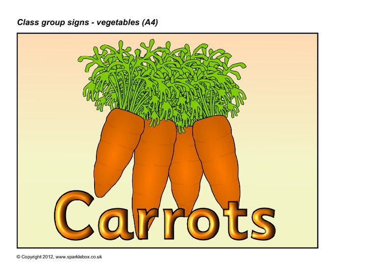 Vegetables Group Signs Printables & Template