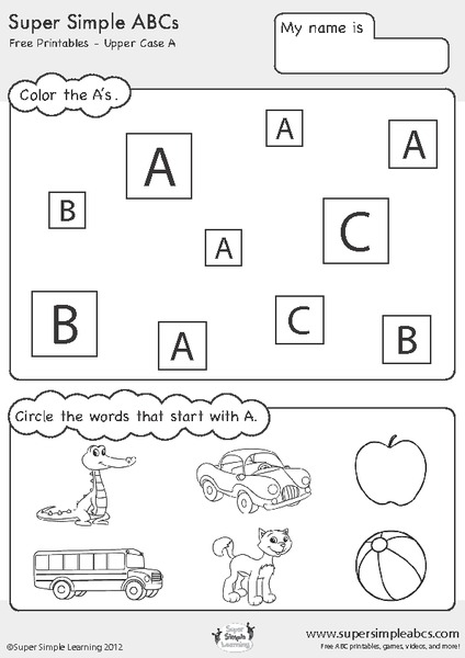 Super simple abc 39 s upper case letters printables for Learning planet alphabet coloring pages