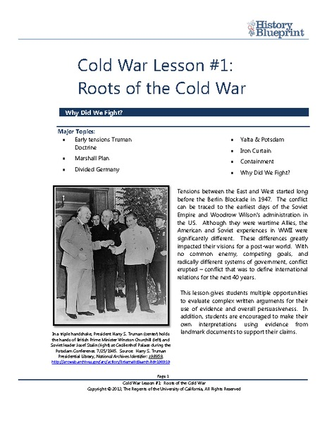 Roots of the Cold War Lesson Plan