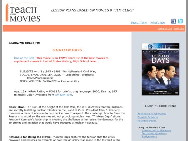 Learning Guide to Thirteen Days Lesson Plan