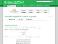 Possessive Adjectives & Pronouns in Spanish Presentation