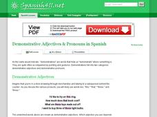 Demonstrative Adjectives & Pronouns in Spanish Handouts & Reference