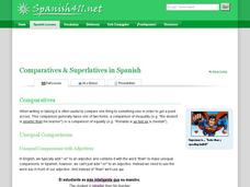 Comparatives & Superlatives in Spanish Handouts & Reference