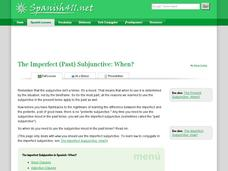 The Imperfect (Past) Subjunctive: When? Handouts & Reference