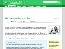 The Present Subjunctive: When? Handouts & Reference
