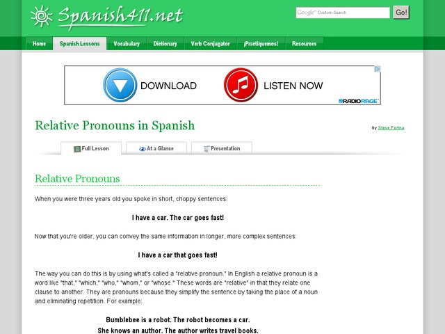 Relative Pronouns in Spanish Handouts & Reference